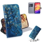 Apricot Flower Pattern Coloured Drawing Horizontal Flip Leather Case for Xiaomi Redmi Note 7, with Holder & Card Slots & Wallet