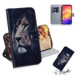 Lion Pattern Coloured Drawing Horizontal Flip Leather Case for Xiaomi Redmi Note 7, with Holder & Card Slots & Wallet