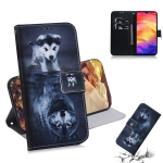 Wolf and Dog Pattern Coloured Drawing Horizontal Flip Leather Case for Xiaomi Redmi Note 7, with Holder & Card Slots & Wallet