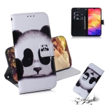 Panda Pattern Coloured Drawing Horizontal Flip Leather Case for Xiaomi Redmi Note 7, with Holder & Card Slots & Wallet