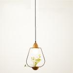 Wrought Iron Plant Flower Decoration Glass pendant Lamp Ceiling Lamp Droplight for Restaurant Pub Cafe House Garden (Black)