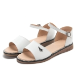 Simple Non-slip Wear-resistant Wrapped Heel Buckle Women Sandals (Color:White Size:40)