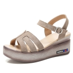 Suede Casual High-rise Non-slip Wear-resistant Women Sandals (Color:Brown Size:38)