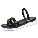 Suede Casual Simple Non-slip Wear-resistant Stars Pattern Two-wear Women Sandals (Color:Black Size:35)