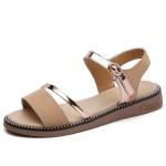 Suede Casual Simple Non-slip Wear Resistant Flat Bottom Women Sandals (Color:Beige Size:38)