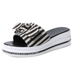 Fashion Bowknot Non-slip Wear-resistant Thick-soled Casual Women Slippers (Color:Black Size:35)