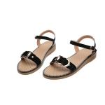 Suede Non-slip Wear-resistant Casual Wild Women Sandals (Color:Black Size:37)