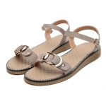 Suede Non-slip Wear-resistant Casual Wild Women Sandals (Color:Apricot Size:36)