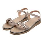 Suede Non-slip Wear-resistant Casual Wild Women Sandals (Color:Apricot Size:37)