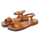 Outdoor Casual Simple Non-slip Wear Resistant Women Sandals (Color:Brown Size:35)