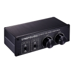 LINEPAUDIO A977 2 In 2 Out Switcher Full-balance Passive Preamp Active Speaker Double Sound Source Volume Controller (Black)