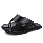 Fashion Trend Sandwich Toe Casual Slippers for Men (Color:Black Size:42)