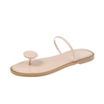 Flat Bottom Toe Set Foot Slippers for Women (Color:Apricot Size:39)