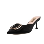Stiletto Heel Pointed Head Trend Fashion Sandals and Slippers for Women (Color:Black Size:35)