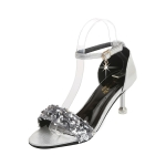 Fashion Sequined Stiletto Open Toe Sandals for Women (Color:Silver Size:39)