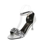 Fashion Sequined Stiletto Open Toe Sandals for Women (Color:Silver Size:39)