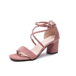 Fashion Suede Thick Heel Open Toe Sandals for Women (Color:Pink Size:39)