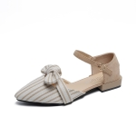 Fashion Bowknot Striped Pointed Head Sandals for Women (Color:Apricot Size:39)