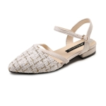 Grid Texture Pointed Fashion Wild Sandals for Women (Color:Beige Size:38)