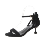 Suede Stiletto Heel Open Toe Pendant Buckle Sandals for Women (Color:Black Size:34)