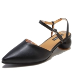 Fashion Round Heel Pointed Head Sandals for Women (Color:Black Size:38)