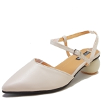 Fashion Round Heel Pointed Head Sandals for Women (Color:Beige Size:37)