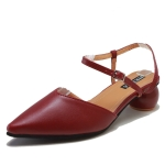 Fashion Round Heel Pointed Head Sandals for Women (Color:Wine Red Size:39)