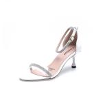 Stiletto High Heel Rhinestone Open Toe Sandals for Women (Color:White Size:36)
