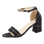 Thick High-heeled Grid Texture Open Toe Sandals for Women (Color:Black Size:34)