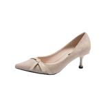 Stiletto Pointed Head Suede Fashion Shoes for Women (Color:Khaki Size:34)
