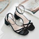 Simple Fashion Wild Open Toe Sandals for Women (Color:Black Size:35)
