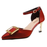 Fashion Stiletto Pointed Head High Heels for Women (Color:Wine Red Size:37)