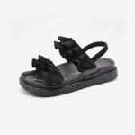 Suede Flat Bottom Wave Wrinkled Sandals for Women (Color:Black Size:35)