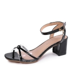 Simple Wild Thick High Heel Fish Mouth Sandals for Women (Color:Black Size:34)
