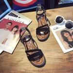 Suede Flat Bottom Twist Sandals for Women (Color:Black Size:35)