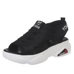 Youth Trend Open Toe Sponge Bottom Shoes for Women (Color:Black Size:35)