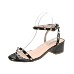 Summer Thick with Low Heel Studded Sandals for Women (Color:Black Size:35)
