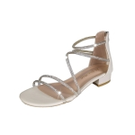 Fashion Open Toe Thick Bottom Bright Diamond Sandals for Women (Color:Beige Size:36)