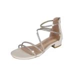 Fashion Open Toe Thick Bottom Bright Diamond Sandals for Women (Color:Beige Size:38)