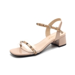 Fashion Wild Rivet Sandals for Women (Color:Apricot Size:36)
