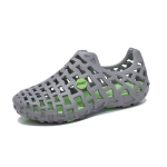 Hollow Air-permeable Non-slip Wearable Couple Hole Shoes (Color:Grey Size:42)