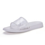 Simple and Stylish Comfortable and Wearable Transparent Slippers for Women (Color:White Size:39)