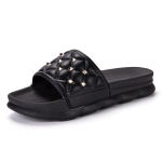 Fashion Trend Platform Rivet Slippers for Women (Color:Black Size:39)