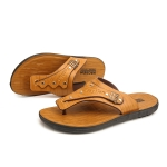 Youth Trend Non-slip Wear-resistant Flip-flops for Men (Color:Light Brown Size:44)