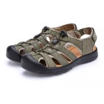 Youth Trend Solid Color Flat Head Sandals for Men (Color:Khaki Size:40)