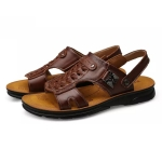 Youth Trend Casual First Layer Cowhide Beach Sandals for Men (Color:Brown Size:44)