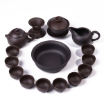 14 in 1 Purple Clay Ceramic Teapot Kung Fu Tea Set Serving Cup Teacup Chinese Drinkware with 8 Tea Cups (Black)