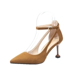 Fashion Stiletto High-heeled Pointed Head Suede Shoes for Women (Color:Brown Size:34)