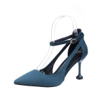 Fashion Stiletto High-heeled Pointed Head Suede Shoes for Women (Color:Navy Blue Size:34)