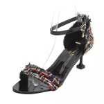 Stiletto Color Matching Open Toe Round Head Sandals for Women (Color:Black Size:37)